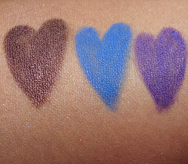 NARS Voyeur swatches from the left: Via Appia, Blue Dahlia and Most Wanted