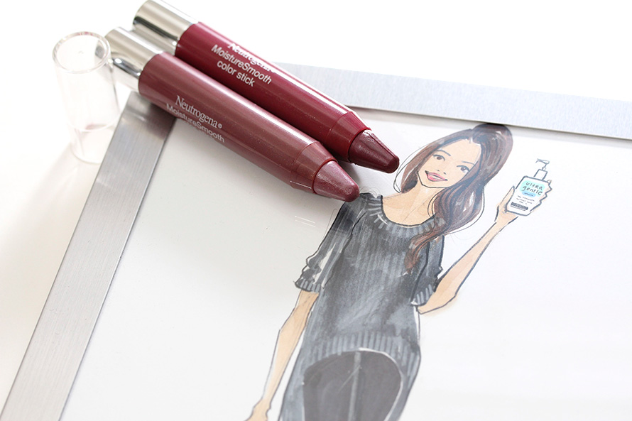 Neutrogena MoistureSmooth Color Sticks in Plum Perfect on the left and Rich Raisin on the right