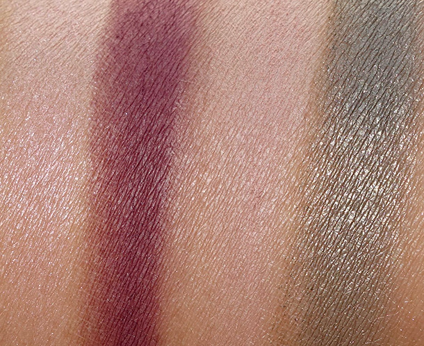Tarte Bow and Go Swatches of the first row of eyeshadows