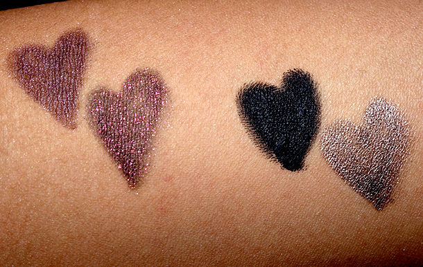 Urban Decay Naked-24/7 Glide-On Double Ended Eye Pencils Swatches from the left: Darkside, Blackheart, Perversion and Pistol