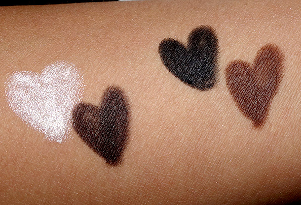 Urban Decay Naked-24/7 Glide-On Double Ended Eye Pencils Swatches from the left: Venus, Crave, Zero and Whiskey