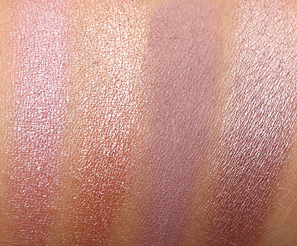Urban Decay Naked3 swatches from the left: Buzz, Trick, Nooner and Liar