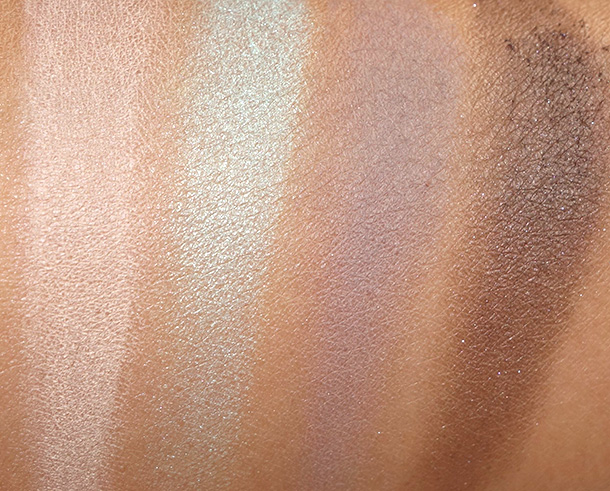 theBalm Balm Voyage Holiday Face Palette Eyeshadow swatches from the left: B1, B2, B3 and B4