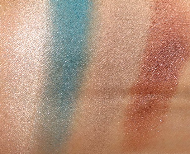 theBalm Balm Voyage Holiday Face Palette Eyeshadow swatches from the left: C1, C2, C3 and C4