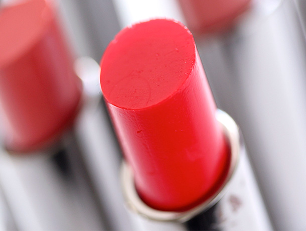 MAC Cherry Glaze Huggable Lipcolour, an orangey red with a cream finish