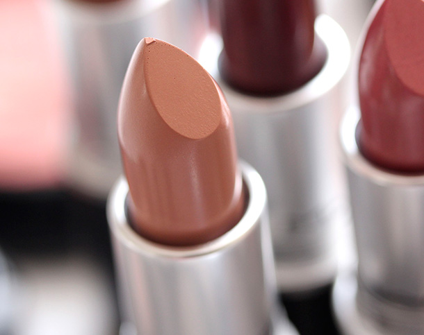 MAC Close Contact Lipstick, a creamy peach with an Amplified finish
