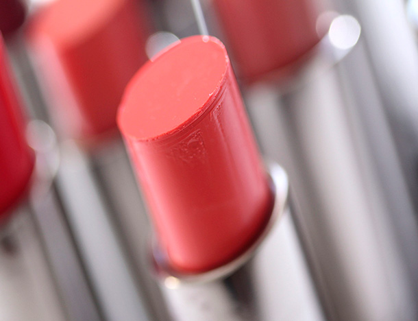 MAC Fashion Force Huggable Lipcolour, a cool coral with a cream finish