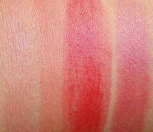 MAC Huggable Lipcolour Swatches from the left: Touche, Fresh & Frisky, Cherry Glaze and Out for Passion