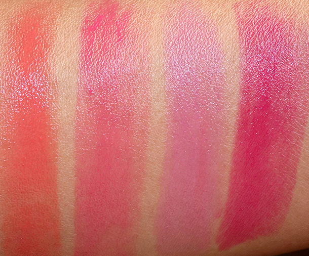 MAC Huggable Lipcolour Swatches from the left: Fashion Force, Love Beam, What a Feeling and Feeling Amorous