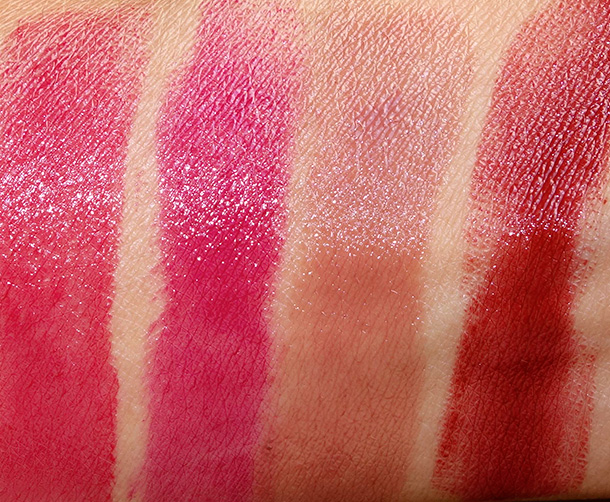 MAC Huggable Lipcolour Swatches from the left: Red Necessity, Commotion, Rich Marron and Rusty