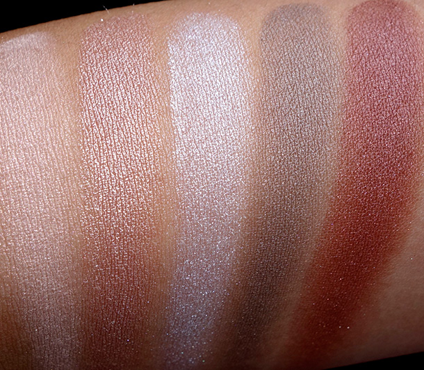 MAC Magnetic Nude Swatches, Extra Dimension Eye Shadows from the left: A Natural Flirt, Sweet Heat, Platinum Love, Amorous Alloy and Silver Dawn