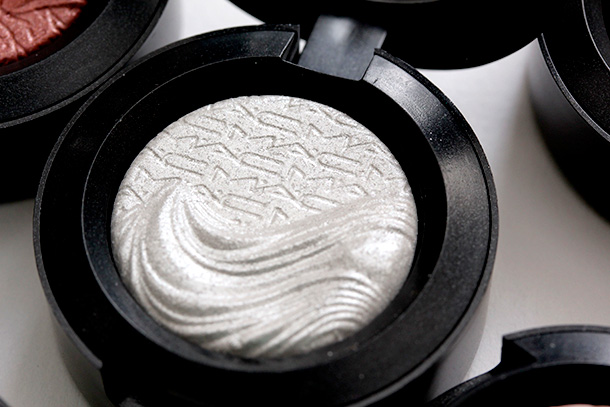 MAC Platinum Love Extra Dimension Eye Shadow, a bright clean silver with a Metallic finish