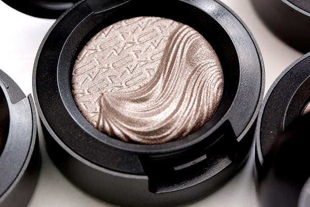 MAC Silver Dawn Extra Dimension Eye Shadow, a dirty grey mauve with a metallic finish