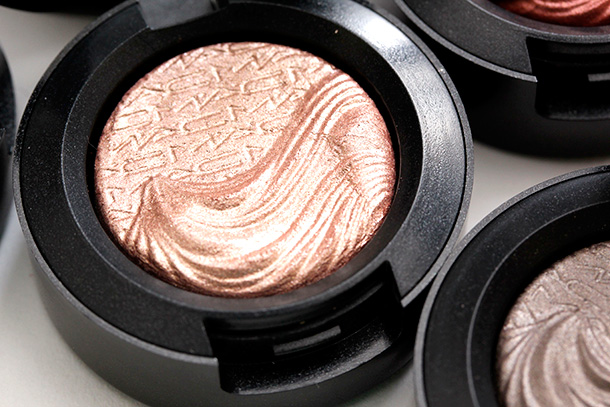 MAC Sweet Heat Extra Dimension Eye Shadow, a soft peachy pink with a Metallic finish