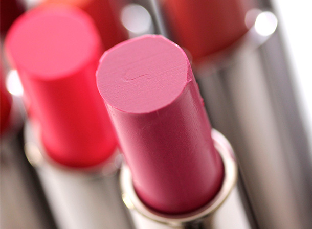 MAC What a Feeling Huggable Lipcolour, a mid-tone cool pink with a cream finish