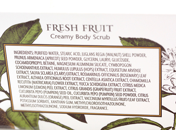 Trader Joe's Exfoliating Body Scrub Trio: Fresh Fruit Creamy Scrub Ingredients
