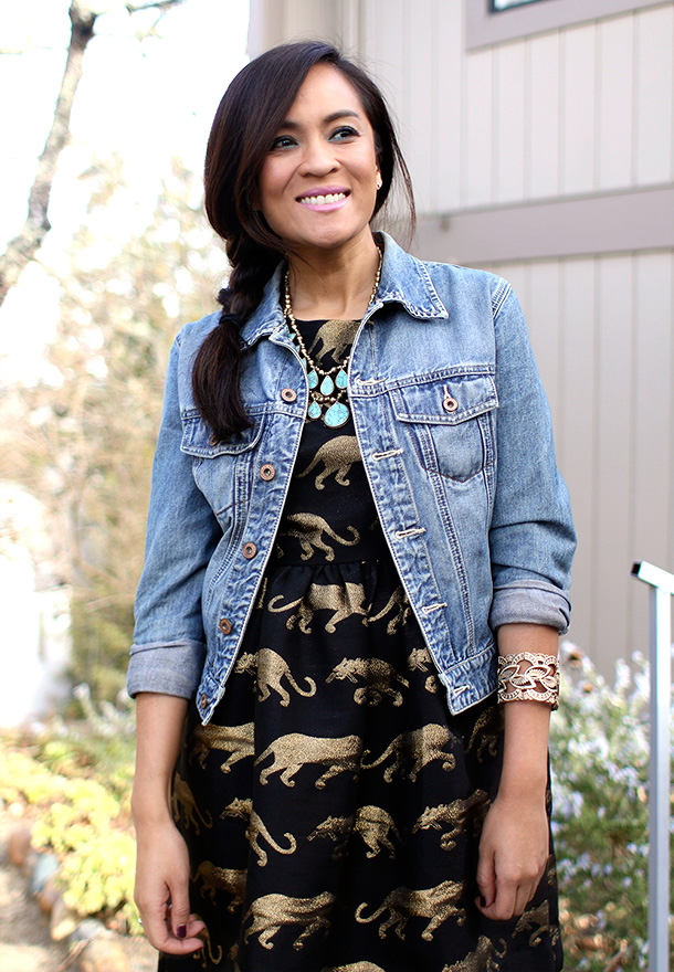 Anthropologie Panthere Dress, Gap Denim Jacket and Lucky Brand Necklace