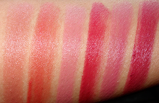 DHC Premium Lipstick GE swatches from the left: Swatches from the left: Rose Gold, Bold Persimmon, Petal Pink, Velvety Red, First Blush and Rich Raspberry