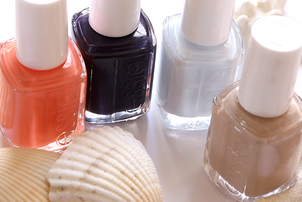 Essie Resort 214 from the left: Resort Fling, Under the Twilight, Find Me an Oasis and Resort Fling