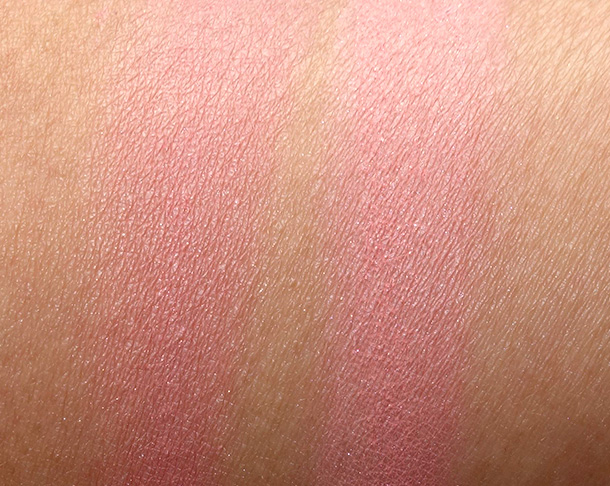 Hourglass Ambient Lighting Blush Swatches in Diffused Heat (left) and Radiant Magenta (right)