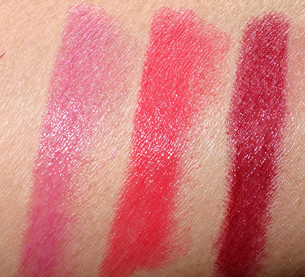 Laura Geller Love Me Dew swatches from the left: Purple Currant, Lychee Glace and Plum Freeze