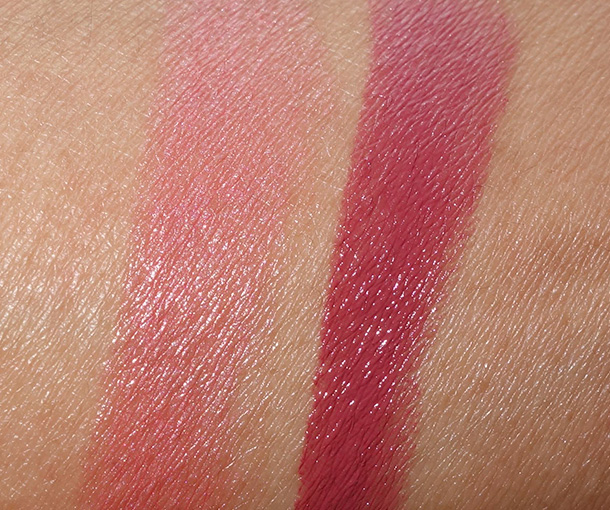 Le Metier de Beaute Hydra-Creme Lipstick Swatches in Butterfield 8 (left) and Grenadine (right)