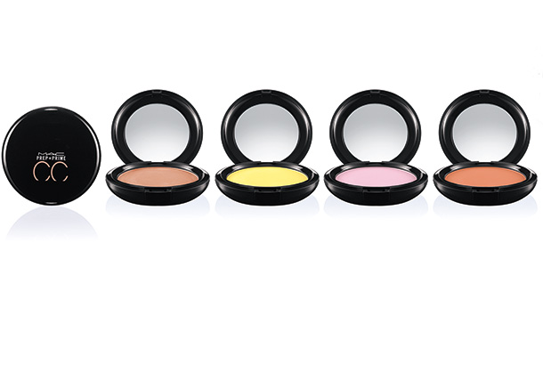 MAC Prep + Prime CC Colour Correcting Compacts from the left: Adjust, Neutralize, Illuminate and Recharge