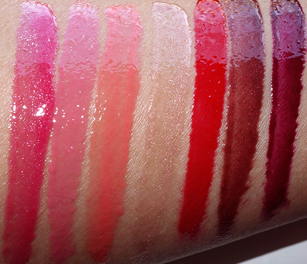 Milani Brilliant Lip Gloss Swatches from the left: Rose Blush, Sweet Grapefruit, Coral Crush, Nude Touch, Red My Lips, Brown-Berry and Black Cherry