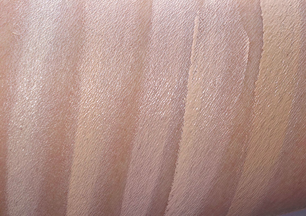 NARS Radiant Cream Compact Foundation Swatches from the left: Ceylan, Punjab, Vallauris, Santa Fe and Stromboli