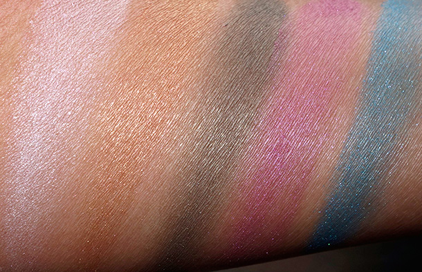 NYX Baked Shadow swatches from the left: White Noise, Lavish, Kush, Sugar Babe and Blue Dream