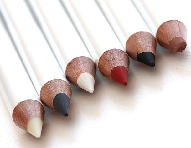 Obsessive Compulsive Cosmetics Colour Pencils from the left: Anti-Feathered, Black Dahlia, Feathered, NSFW, Tarred and Trick