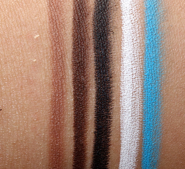 Obsessive Compulsive Cosmetics Colour Pencils Swatches of the shades you can wear on your lips, eyes and body (left to right): Anti-feathered, Pennyroyal, Sybil, Tarred, Feathered and Pool Boy