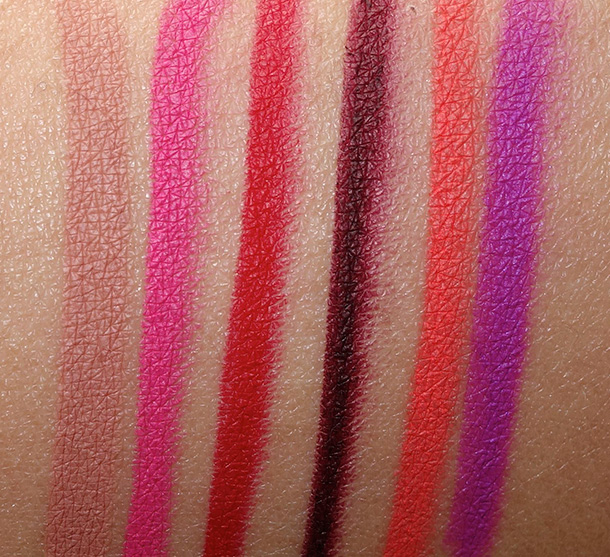 Obsessive Compulsive Cosmetics Colour Pencils Swatches of shades you can wear on lips and body (left to right): Trick, Anime, NSFW, Black Dahlia, Grandma and Hoochie