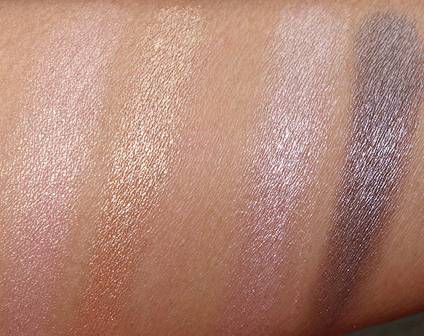 Urban Decay Duo Shades swatches: X and Half Baked (far left); Sin and Mushroom (far right)