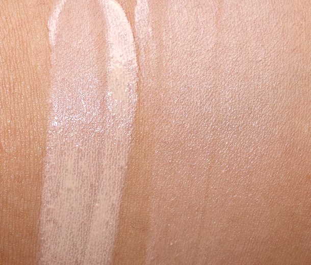 Urban Decay Naked Skin Beauty Balm in Naked Light Swatches unblended (left) and Blended (right)
