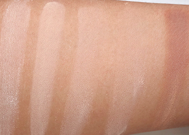 Urban Decay Naked Skin Ultra Definition Loose Finishing Powder Swatches from the left: Naked Light, Naked Medium Light, Naked Medium, Naked Medium Dark and Naked Dark