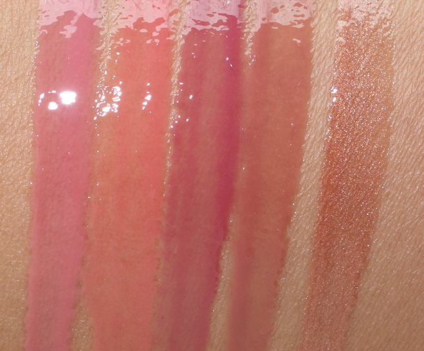 Urban Decay Ultra Nourishing Lipgloss Swatches from the left: Liar, Streak, Beso, Rule34 and Freestyle