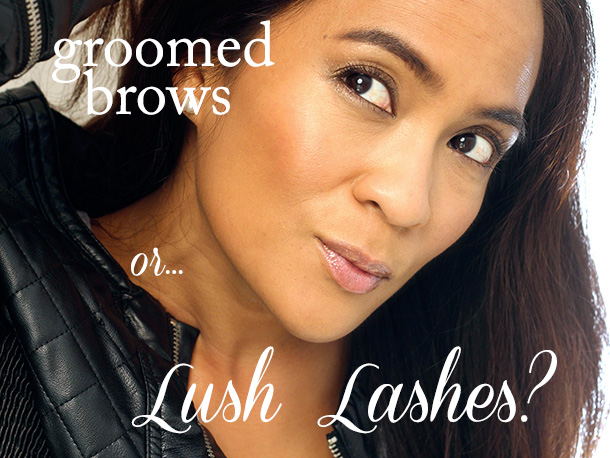 Groomed brows or lush lashes?