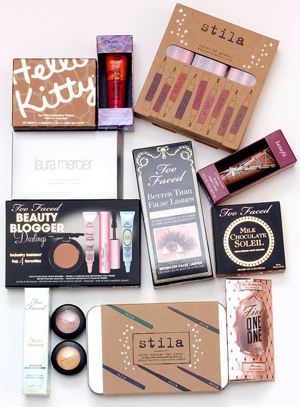 Enter to Win a Makeup Prize Package Worth $355 with makeup from MAC, Laura Mercier, Stila, Too Faced, Benefit and Hello Kitty