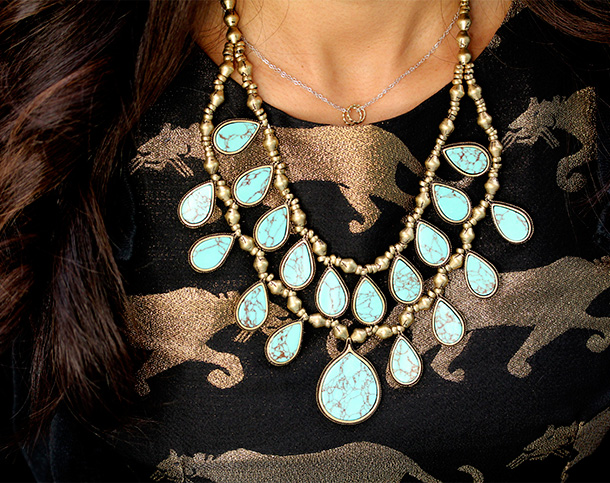 Lucky Brand Turquoise Two-Collar Row Necklace