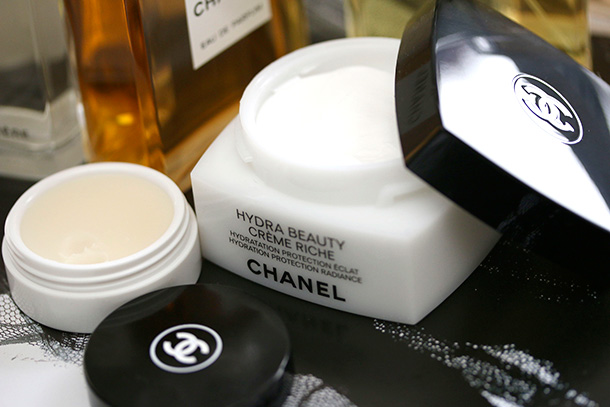 Chanel Hydra Beauty Nourishing Lip Care on the left and Creme Riche on the right