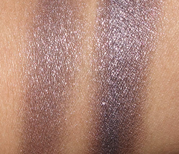 Clarins Smoky Plum swatches on NC42 skin dry (left) and wet (right)