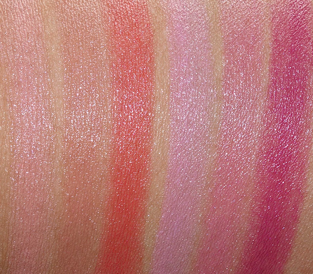 MAC A Fantasy of Flowers Lipstick Swatches from the left: Fleur D'Coral, Naked Bud, Dreaming Dahlia, Rose Lily, Snapdragon and Heavenly Hybrid