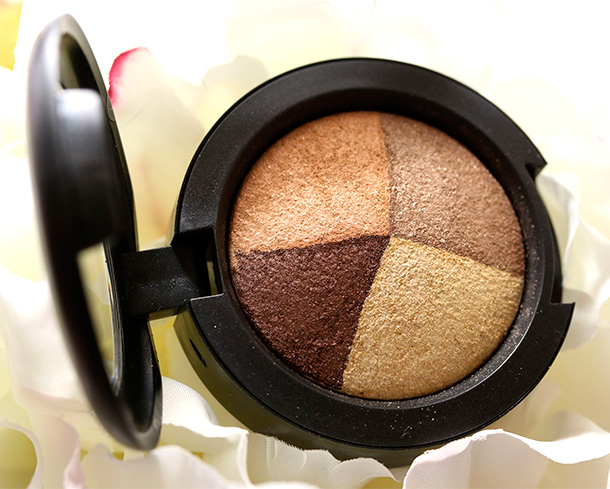 MAC Golden Hours Mineralize Eye Shadow, a coppery bronze, a golden brown, a soft golden peach and a pale yellow gold