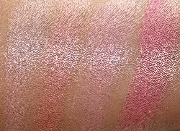 MAC A Fantasy of Flower Swatches from the left: Mineralize Skinfinishes in Perfect Topping and Stereo Rose, and Mineralize Blushes in Azalea in the Afternoon and Petal Power