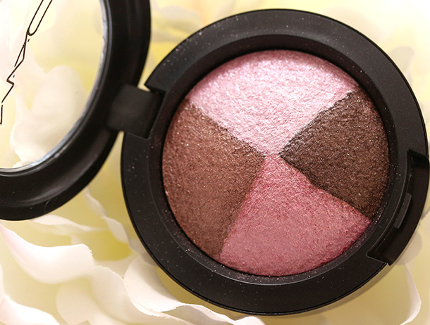 MAC Pink Sensibilities Mineralize Eye Shadow, a pinkish brown, a chocolate brown, a yellowish pink and an icy bluish pink