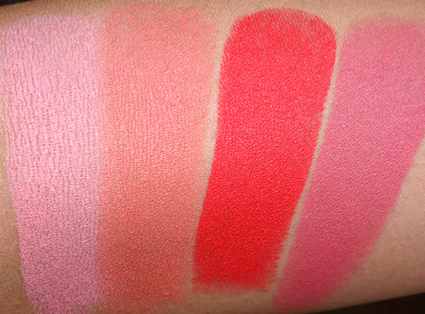 NARS Matte Multiple Collection Swatches from the left: Anguilla, Exumas, Siam and Laos