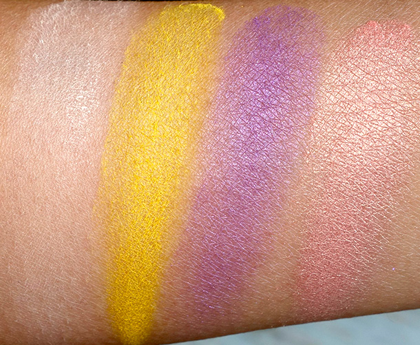 NYX Hot Singles Swatches from the left: Vixen, STFU, Maneater and Sex Kitten