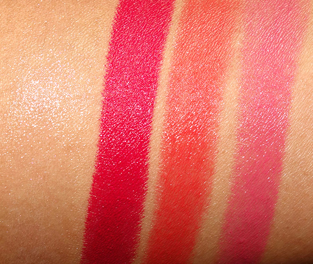 Guerlain Rouge G swatches from the left: Rose Glace, Rose Grenat, Geneva and Geraldine
