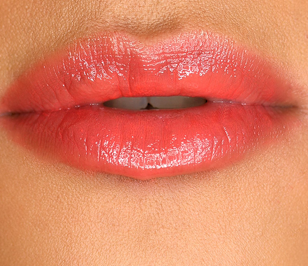 MAC Patentpolish Lip Pencil in Teen Dream, a bright coral-orange
